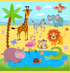 Baby jungle and safari zoo animals nature vector