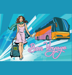 beautiful young woman tourist passenger tour bus vector image