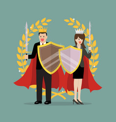 Man and woman with shield sword and golden wreath vector