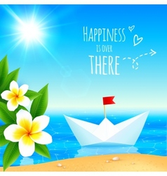 White paper boat near tropical island vector
