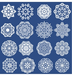 Set of decorative paper snowflakes white on blue b vector