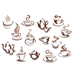 Vintage brown coffee cups and pots vector
