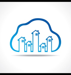 Group of up homes in the cloud vector