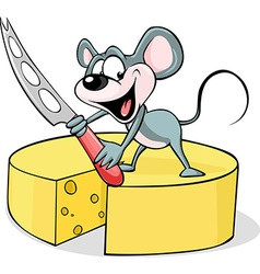 Mouse holding a cheese knife - isolated on vector