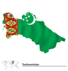 Map of turkmenistan with flag vector