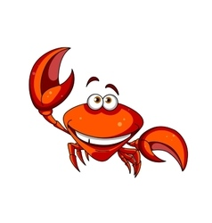 Happy smiling red cartoon crab vector image