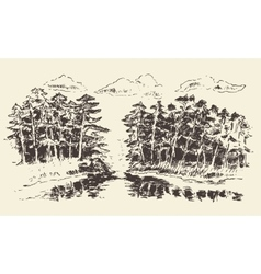 Hand drawn landscape lake and fir forest vector
