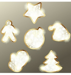 collection of golden winter icons vector image