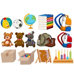 Different kind of toys and stationaries vector