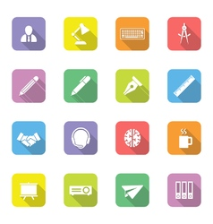 Colorful flat icon set 8 on rounded rectangle with vector