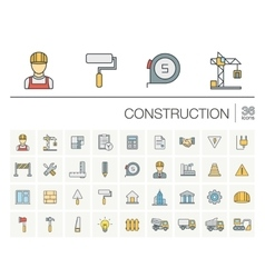 Construction industrial color icons vector