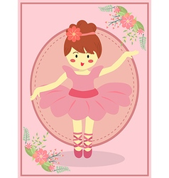 Cute pink ballerina girl vector