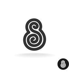 Letter s tribal ornate ethnic style black vector