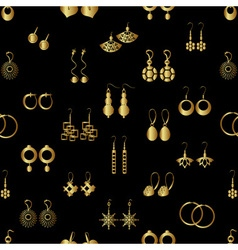 Various gold ladies earrings types seamless vector