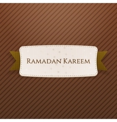 Ramadan kareem festive tag with text and ribbon vector