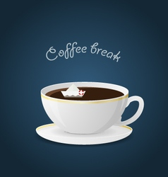 Offee break ceramic cup hot beverage vector