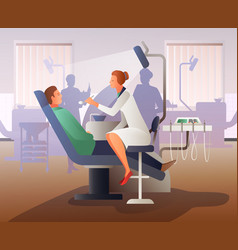 Appointment at dentist flat composition vector
