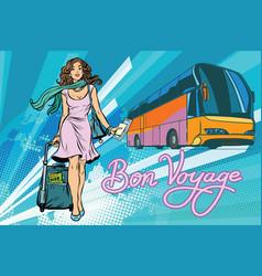 Beautiful young woman tourist passenger tour bus vector