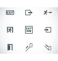 black exit icons set vector image vector image