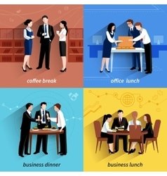 Business lunch 4 flat icons square vector