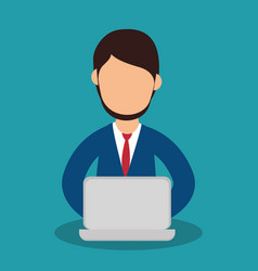 business people with laptop training icon vector image