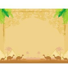 camel caravan in wild africa - abstract grunge vector image vector image