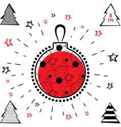 Christmas ball and christmas tree icon vector