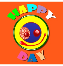 Comic yellow plate happy day vector