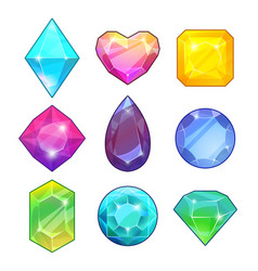 Different gemstones brilliants and diamonds in vector
