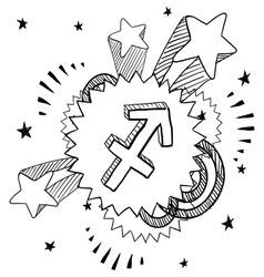 doodle pop astrology sagittarius vector image