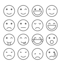 Emoji faces simple icons vector image