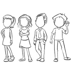 faceless people character in black and white vector image