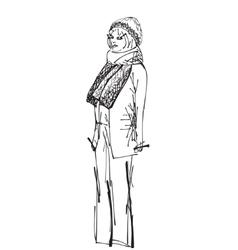 Fashion woman sketch vector