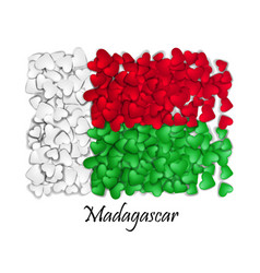 flag love madagascar flag heart glossy with love vector image vector image