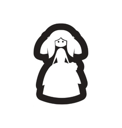 Flat icon in black and white bride vector image