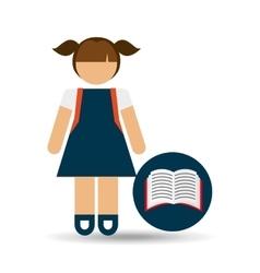 girl uniform school open book icon vector image