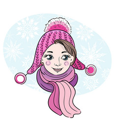 Hand-drawn of happy little girl vector