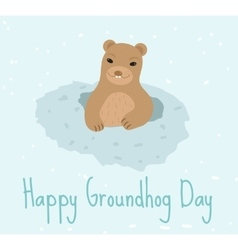 Happy groundhog day greeting card flat style vector