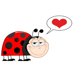 Happy Smiling Ladybug In Love vector image vector image