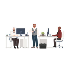 men dressed in business clothes working at office vector image vector image