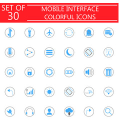 Mobile interface colorful icon set vector
