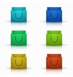 Modern shooping bag icons set vector