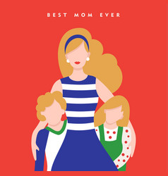Mothers day card for happy family holiday vector