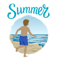 Running boy in summer vector
