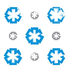 Set of brush drawing simple blue ambulance symbols vector image