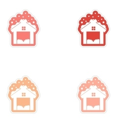 Set of paper stickers on white background barn in vector