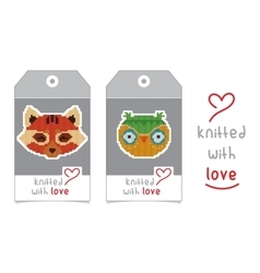 Set of two tags with knitted animals vector image vector image