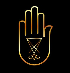 Sigil of lucifer in a palm vector