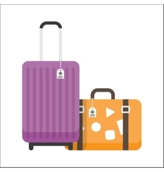 Two travel suitcases with tags and stickers vector