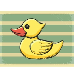 Vintage grunge background with bath duck vector